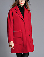 Women's Solid Red Coat,Simple Long Sleeve Wool