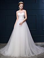 웨딩 드레스-아이보리(색상은 모니터에 따라 다를 수 있음) 프린세스 쿼트 트레인 스쿱 면 / 레이스 / 튤