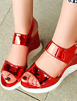Women's Shoes Patent Leather Wedge Heel Heels Sandals Office & Career / Dress / Casual Pink / Red / Silver