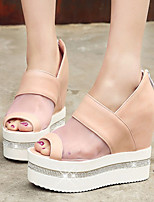 Women's Shoes Wedges Heels/Open Toe Heels Dress Black/Pink/White
