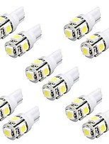 10PCS 5W T10 LED Bulbs Car LED Width Light W5W LED Reading Light W5W Interior LED Light T10 5050 5SMD LED White Color