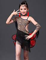 Latin Dance Outfits Children's Performance Milk Fiber Tassel(s) 5 Pieces Zebra / Leopard Print Latin Dance