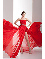 Formal Evening Dress-Ruby Sheath/Column Sweetheart Chapel Train Chiffon / Charmeuse