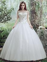 שמלת כלה -לבן (צבע וסגנון עלולים להיות שונים בין צגים) גזרת A אורך עד לרצפה-עגול-תחרה / טול
