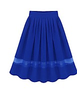 Women's Solid Blue / Black Skirts,Casual / Day Knee-length