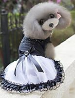 Noble Drilling Bowknot Pet Lace Dress