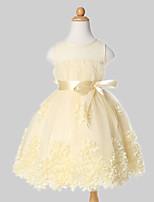 A-line Knee-length Flower Girl Dress-Tulle / Polyester Sleeveless
