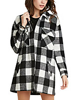 Women's Plaid Black Coat,Simple Long Sleeve Wool