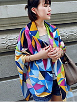 Women Visual Color Stitching Plaid Cotton Scarves Rainbow-colored Scarf Shawl