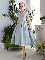 Cocktail Party Dress-Sky Blue A-line V-neck Tea-length Satin / Taffeta / Polyester