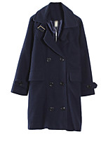 Women's Solid Blue / Brown Pea Coats,Simple Long Sleeve Polyester