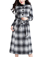 Women's Plaid Black Pea Coats,Simple Long Sleeve Wool