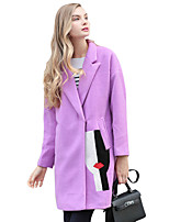 Women's Solid Pink / Red / Orange / Purple Pea Coats,Simple Long Sleeve Wool