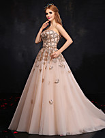A-line Wedding Dress-Champagne Court Train Strapless Tulle