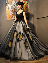 Formal Evening Dress-Black Court Train Straps Lace / Satin / Taffeta / Tulle