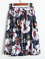 Women's Floral Multi-color Skirts , Casual / Day / Holiday Knee-length k139