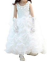 Girl's White Dress Polyester Summer / Spring