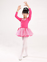 Ballet Dresses Children's Long Sleeve Performance Cotton / Polyester Bow(s) 1 Piece Blue / Fuchsia