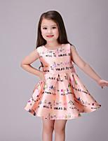 Girl's Orange Dress,Cartoon Polyester Summer