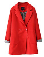 Women's Solid Blue / Red Coat,Simple Long Sleeve Polyester