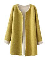 Women's Color Block Gray / Yellow Cardigan,Simple Long Sleeve