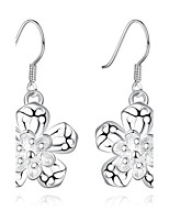 Concise Silver Plated Flower Shape Design Drop Earrings for Party Women Jewelry Accessiories