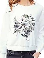 Hoodies Aux femmes Décontracté / Quotidien Simple Imprimé Blanc Coton