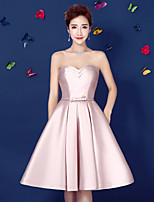 Cocktail Party Dress-Blushing Pink Ball Gown Strapless Knee-length Satin