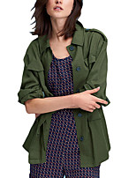 Women's Solid Green Trench Coat,Simple Long Sleeve Polyester