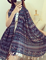 Women Printed Silk Twill  Fringed Cotton Oversized Scarf Beautiful Scarves Purple Shawl