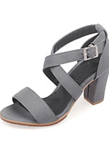 Women's Shoes Chunky Heel Open Toe Sandals Dress Black / Gray / Coral