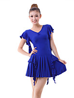 Latin Dance Dresses Women's Training Milk Fiber Crystals/Rhinestones / Pleated / Ruffles 2 Pieces Blue / Red