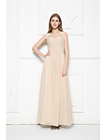 Floor-length Chiffon Bridesmaid Dress-Champagne A-line Scoop