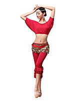 Belly Dance Outfits Women's Training Modal Gold Coins / Ruffles 3 Pieces Black / Fuchsia / Orange / Purple / Red