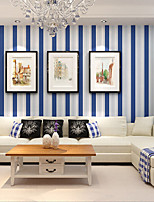PALUTON Stripe Wallpaper Contemporary Wall Covering,Non-woven Paper Mediterranean Fringe Shop For Simplicity
