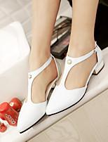 Scarpe Donna-Scarpe col tacco-Tempo libero / Formale / Casual-Tacchi / Comoda / A punta-Quadrato-Finta pelle-Nero / Rosso / Bianco