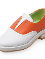 Women's Shoes Leatherette Low Heel Comfort / Pointed Toe Loafers Dress / Casual Black / Orange