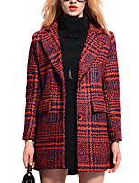 Women's Striped Blue / Red Coat,Simple Long Sleeve Polyester