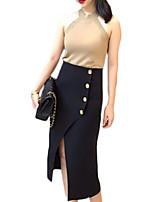 Women's Solid Black Skirts,Sexy Midi