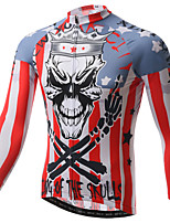 XINTOWN Cool Skull Cycling Jersey Men's  Cycling Clothing MTB Long Sleeve Bike Jersey