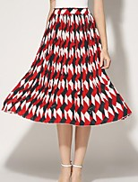 Women's Print Color Block Pleated Vintage Slim Chiffion Skirts,Casual / Day / Boho Midi