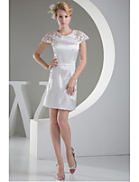 Dress-Ivory Sheath/Column Jewel Short/Mini Lace / Charmeuse