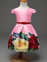 Girl's Pink / White Dress Rayon Summer / Spring / Fall