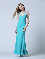 Formal Evening Dress-Ocean Blue Trumpet/Mermaid Scoop Ankle-length Lace / Tulle