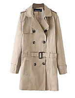 Women's Solid Brown Trench Coat,Simple Long Sleeve Polyester