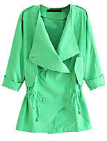 Women's Solid Pink / Brown / Gray / Green / Orange Trench Coat,Simple Short Sleeve Polyester