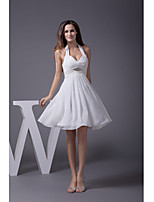 Cocktail Party Dress-Ivory A-line Halter Knee-length Chiffon