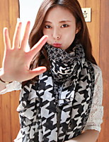 Women Sunscreen Stitching Color Classic Voile Black And White Grid Scarves Scarf Shawl
