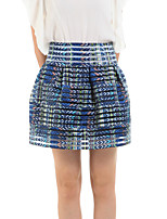 Women's Floral Blue Skirts,Cute Above Knee