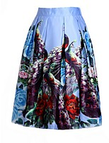Women's Floral Blue Skirts,Casual / Day Midi